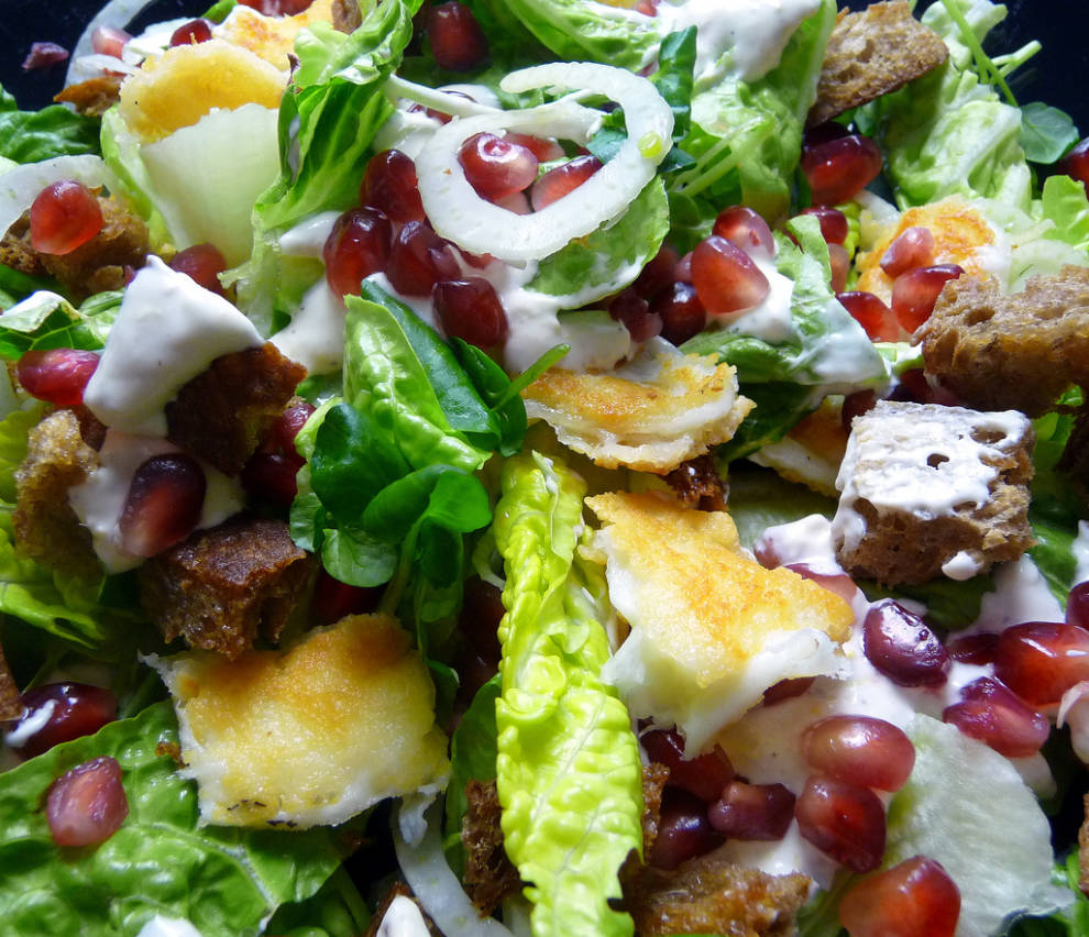 Halloumi Salad with Fennel, Coutons and Pomegranate